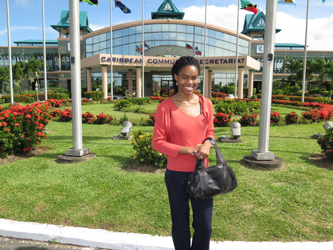 Zahra Henry outside the headquarters of the Caribbean Community Secretariat where she completed her summer internship.