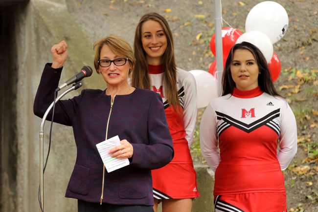 Principal Suzanne Fortier announces McGill's ambitious goal to raise $475,000 for Centraide. / Photo: Owen Egan.
