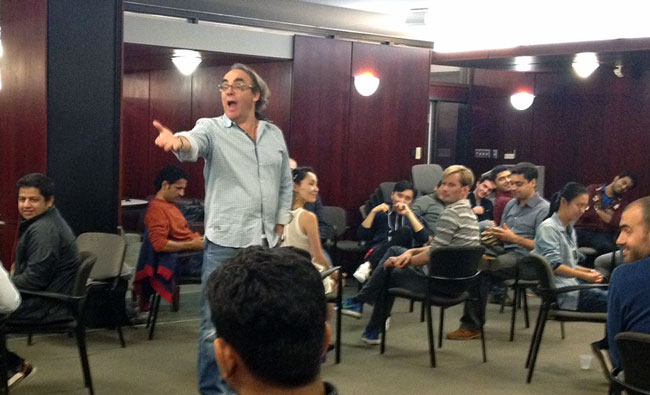Rob Nickerson giving MBA students lessons in improv. / Photo courtesy of the Desautels Faculty of Management