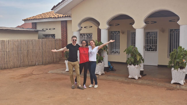 Ryan Adessky, Annie and Esther at their house in Kigali. / Photo courtesy of Ryan Adessky.