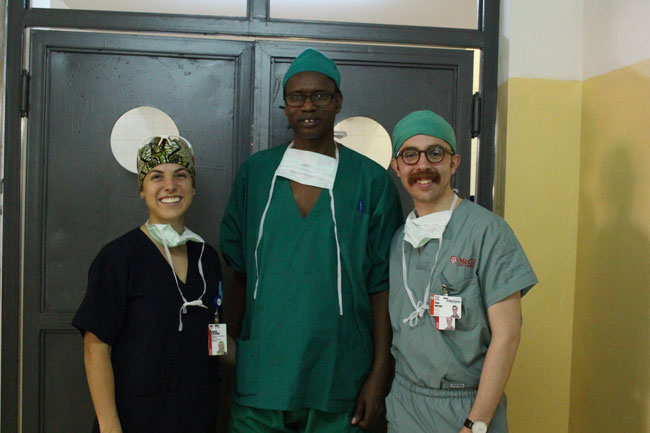 Annie Lalande, Dr. Antoine and Ryan Adessky at the Centre Hospitalier Universitaire Kigali. / Photo courtesy Ryan Adessky