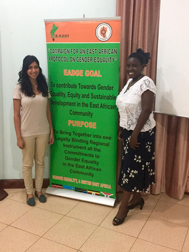 Tasha Kara, left, did a summer internship at the Women of Uganda Network in Kampala, Uganda. / Photo courtesy of Tasha Kara