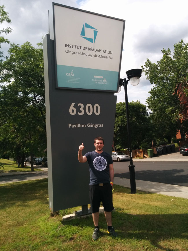 Mathieu Allard being discharged from the rehabilitation centre on July 30, 2014. / Photo courtesy of  Mathieu Allard