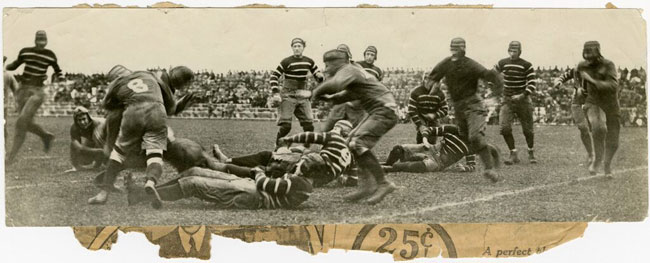 The Royal Military College rugby team clashes with the McGill Redmen at Molson Stadium circa 1930. / Photo courtesy of the McGill University Archives, PR000247