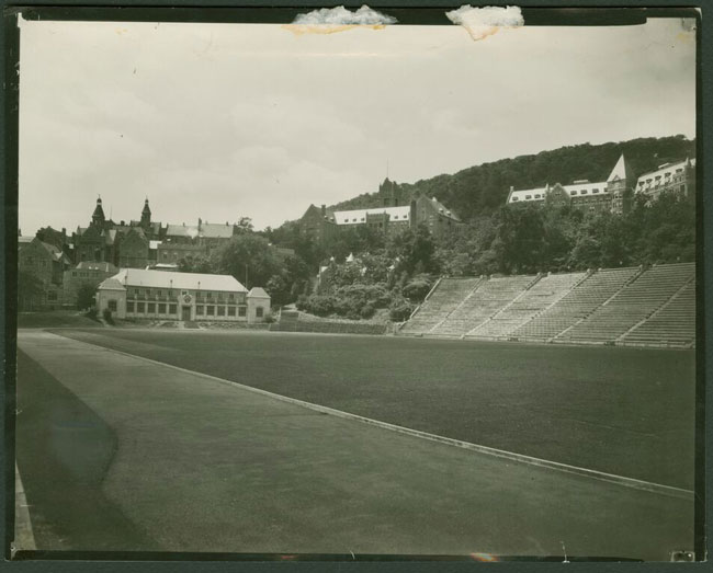 Molson Stadium, circa 1924, showing the Fieldhouse, Grandstand and Royal Victoria Hospital. / Photo courtesy of the McGill University Archives, PR000524