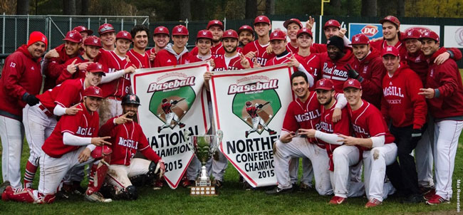 The McGill Redmen baseball team celebrates winning its second-straight national title this weekend in Fredericton, N.B. / Photo: Max Rosenstein
