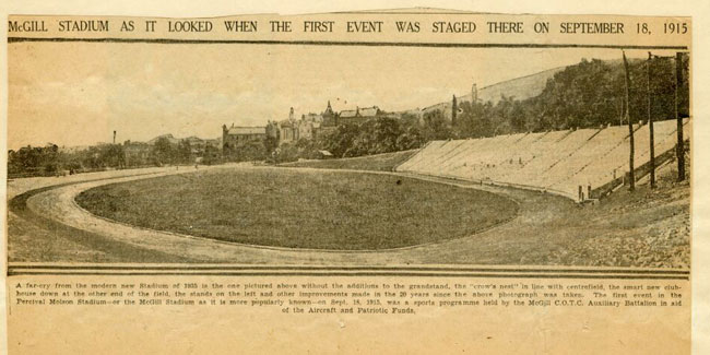 From a report on the stadium, circa 1935. / Courtesy of Author and newspaper: unknown Please credit McGill University Archives, Accession 0000-0089, McGill Stadium Report