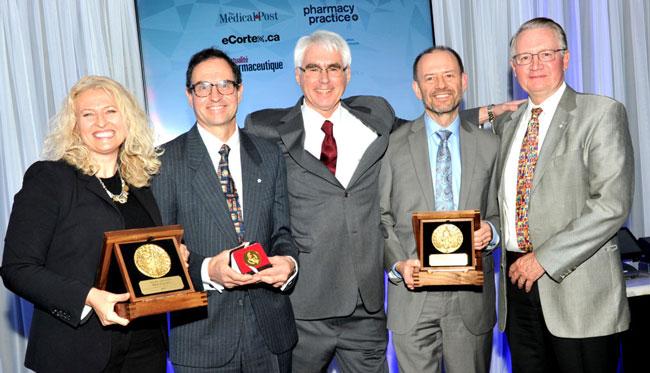 Photo caption: L-R: Cheryl Cann, Dr. Norman Campbell, Dr. John Bergeron, Dr. Theodore Warkentin, Dr. John Kelton.
