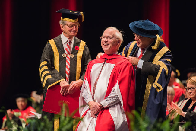 """Tthe world needs more empathy, more love – and so do you,"""" Timothy Brodhead told graduating students. """"The world is waiting. It's impatient. Go for it."""" / Photo: Alison Slattery Photography"""