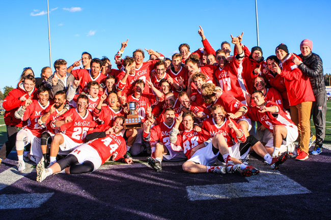 The McGill Redmen pose with Baggataway Cup moments after defeating Western to claim 2015 CUFLA crown. / Photo: Courtesty Emery G. Photography