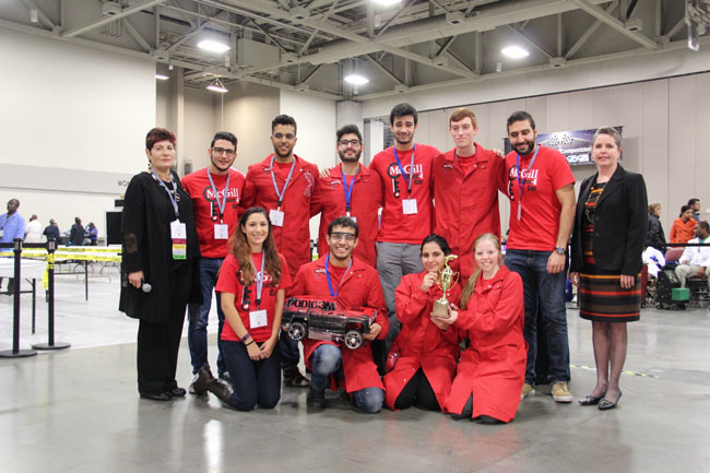In it to win it: Members of the upstart McGill team just moments after winning the 17th annual AIChE Chem-E Car competition in Salt Lake City, Utah. / Photo courtesy of the American Institute of Chemical Engineers.