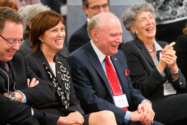From left: Marc Weinstein, VP (DAR); former Principal Heather Munroe-Blum; ex-Chancellor Arnold Steinberg; and his wife, Blema Steinberg, Professor Emeritus, in 2009. / Photo: Owen Egan