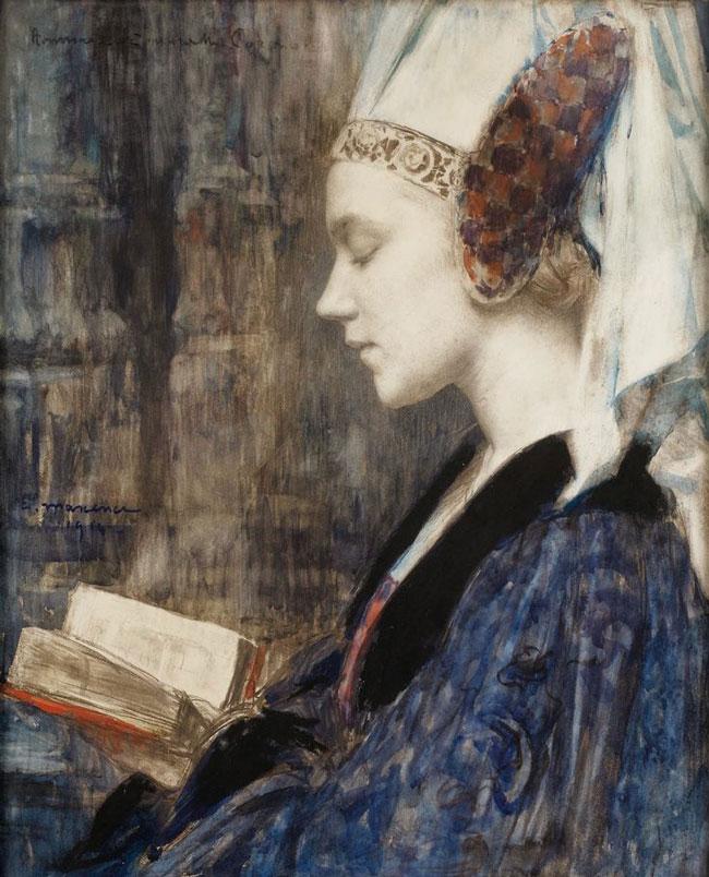 Edgar Maxence, Woman Reading (Profile)
