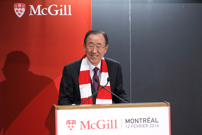 """With McGill's support, I am confident we can boldly go where no man has gone before,"" UN Secretary-General Ban Ki-moon, told a full house in Leacock 132. ""As another famous McGill graduate once said:  'Beam me up, Scotty.'"" / Photo: Owen Egan"