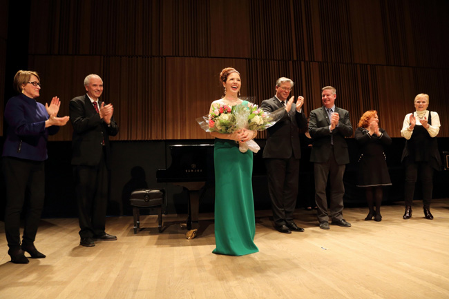 Chelsea Rus upon winning the inaugural Wirth Voice Prize. / Photo: Owen Egan