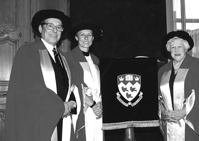 Victor Goldbloom receiving an honorary degree from McGill in 1992, with Canadian astronaut Roberta Bondar, and Barbara Whitley, a long-time stalwart of Montreal's English language cultural scene.