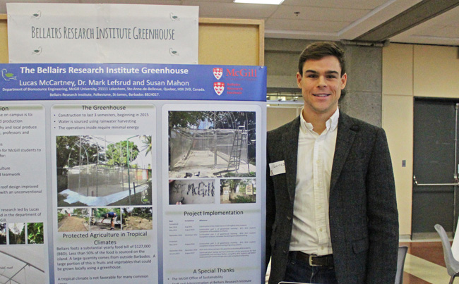 Lucas McCartney, a Ph.D. student in Bioresource Engineering, is on of the people spearheading the Bellairs Institute Greenhouse Project
