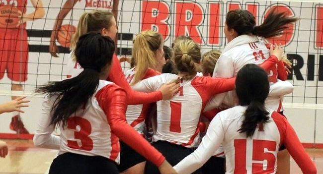 The Martlets celebrate after sweeping Sherbrooke in RSEQ semifinals. / Photo: Derek Drummond