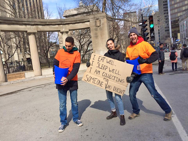 From right to left: Benjamin Schuringa, Jade Prévost-Manuel and Marwan Sultani – members of McGill's 5 Days for the Homeless contingent.