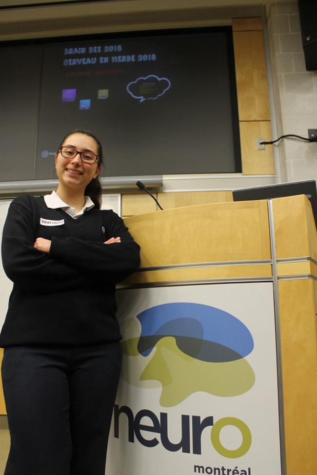 Valerie Hernandez du Collège Sainte-Marcelline, lauréate du concours local, prendra part à l'épreuve nationale à l'Université McMaster.  / Photo: Shawn Hayward