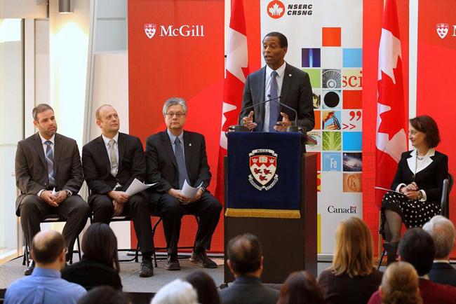 Participants in today's NSERC CREATE announcement (from left to right) Stuart Kozlick, Dr. Pierre Charest, Rosie Goldstein, Greg Fergus and Prof. Jake Barralet. / Photo: Laurie Devine