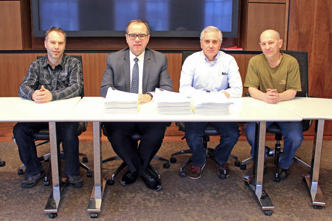 From left to right: Pierre Sauvé, Union President, Trades Group – Macdonald Campus; Michael Di Grappa                                                         Vice-Principal,                                                            Administration and Finance; Robert Huot Union President – Trades Downtown Campus; Ronald St-Martin Union President – Powerhouse Downtown Campus