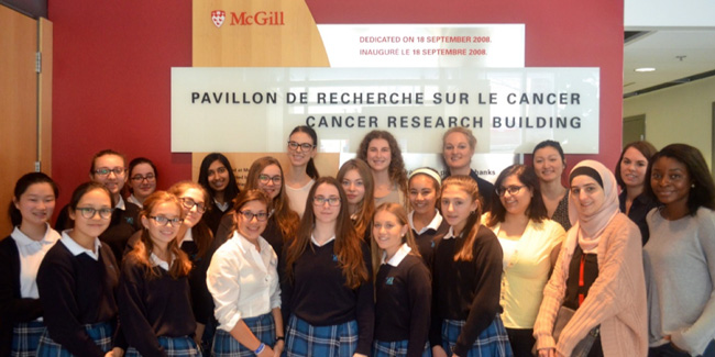 Students from Villa Maria High School and their hosts from the Goodman Cancer Research Centre.