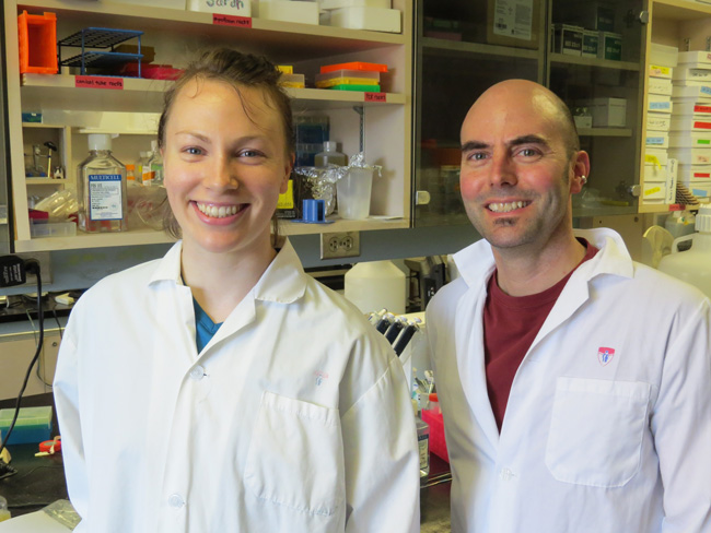 McGill PhD student Sarah Konefal and Dr David Stellwagen. / Photo courtesy of the MUHC