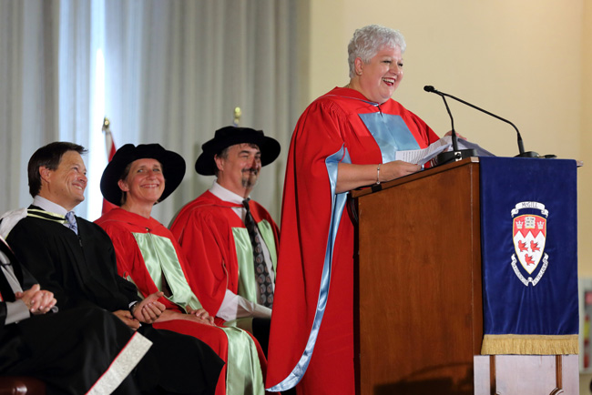 Maria Labrecque Duchesneau at Mac Convocation. / Photo: Owen Egan