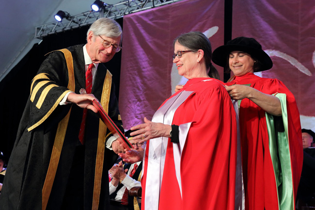Susan McClary receives her honorary degree. / Photo: Owen Egan