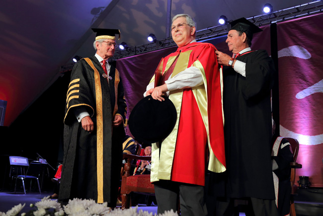 Henry Petroski receives his honorary degree. / Photo: Owen Egan