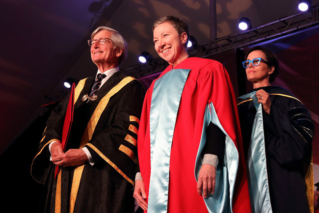 Zita Cobb receives her honorary degree during the Continuing Studies ceremony. / Photo: Owen Egan