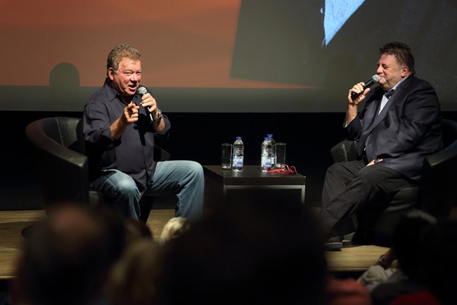 William Shatner makes a point at the recent alumni breakfast. / Photo: Owen Egan
