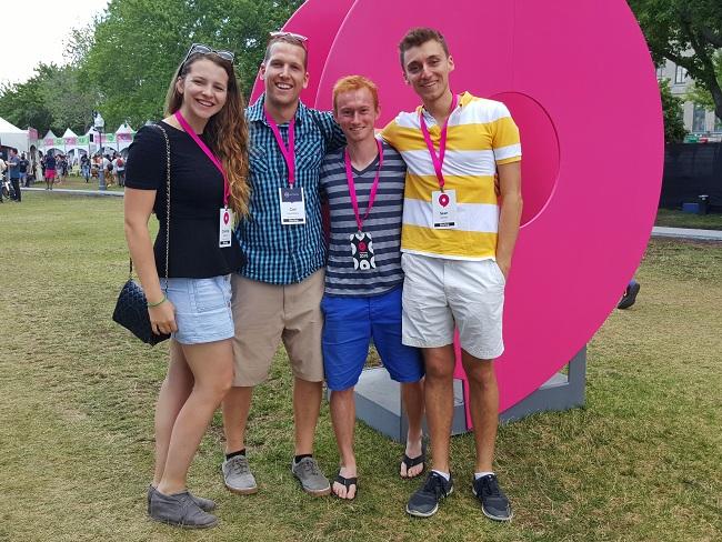 Charlotte Savage-Pollock (NXTSENS Microsystems Inc.), Carl Laverdiere (NXTSENS), Julien Marlatt (Venndor) and Sean Kaiser (Appetite) were among the McGill student entrepreneurs who participated in Startupfest 2016.