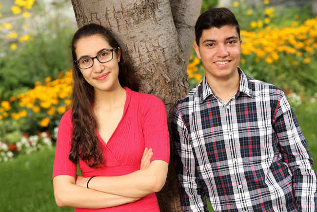 Mana Moshkforoush (left) and Abtin Ameri have each been awarded a prestigious Schulich Leader Scholarship. / Photo: Owen Egan