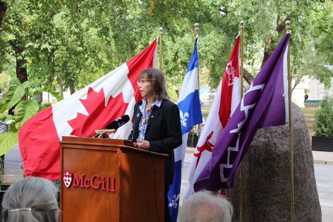 """If there is to be true re-conciliation and if McGill is to be part of that we conciliation there needs to be restitution and there needs to be some help and understanding and compassion,"" said Ellen Gabriel."