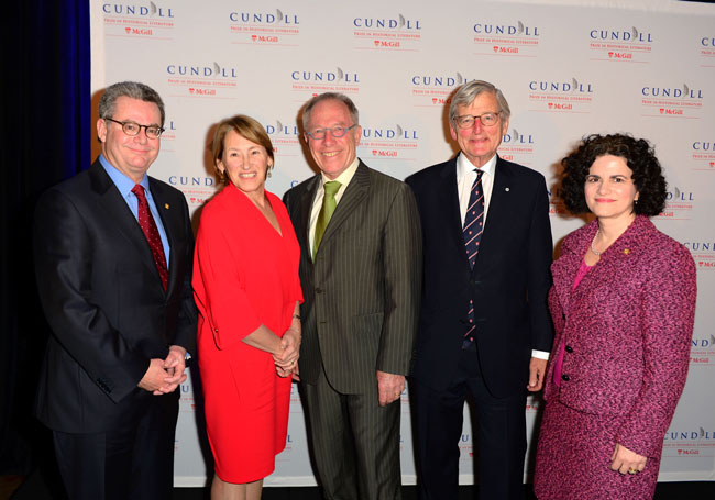 From left to right: Provost Christopher Manfredi; Principal Suzanne Fortier; Thomas Laqueur, winner of the 2016 Cundill Prize; Chancellor Michael A. Meighen; and Antonia Maioni, Dean of the Faculty of Arts at this evening's gala. / Photo: Tom Sandler