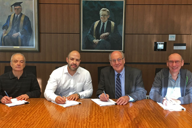 From left to right: Giovanni Mendicino (President, SEU Data Centre), Jose Rego (President, SEU Facilities Management, Student Housing Services, Dining Services and Faculty Club), Prof. Morty Yalovsky (Interim Vice-Principal – Administration and Finance) and Pierre Champagne (outgoing President, Printing Services)