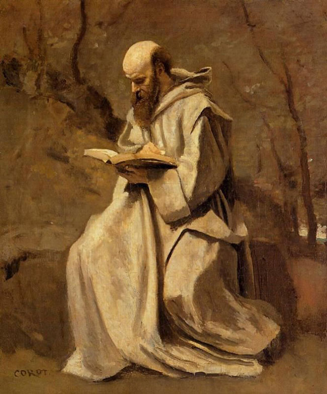 Camille Corot, Monk in White, Seated, Reading (1857)