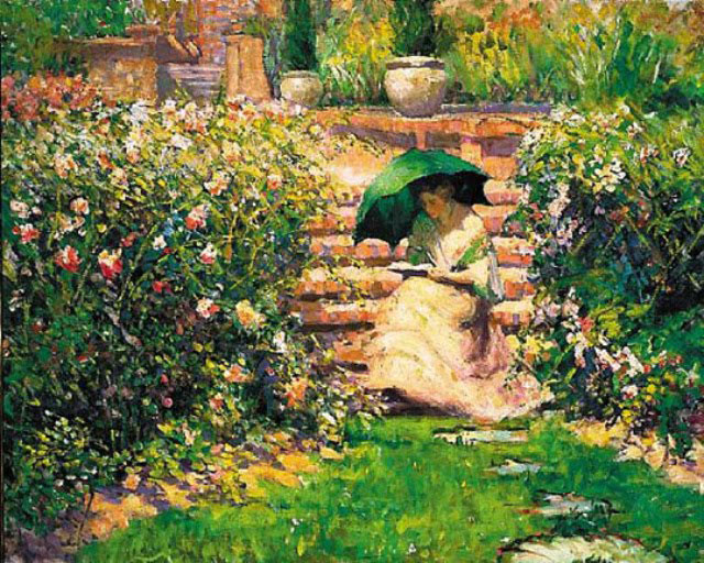 Richard Emil Miller, Woman reading in the garden