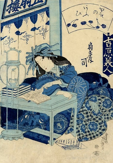 Keisai Eisen, A beauty reading by candlelight