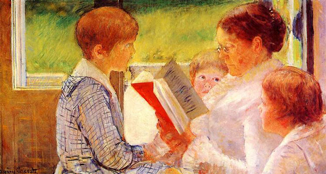 Mary Cassatt, Mrs. Cassatt reading to her grandchildren (1880)