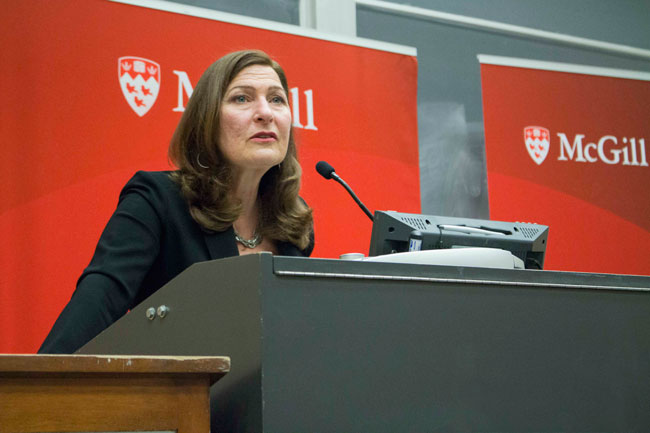 Anne Marie Tremonti addresses the audience in this year's F.R. Scott Lecture. / Photo: Laurent Goldman