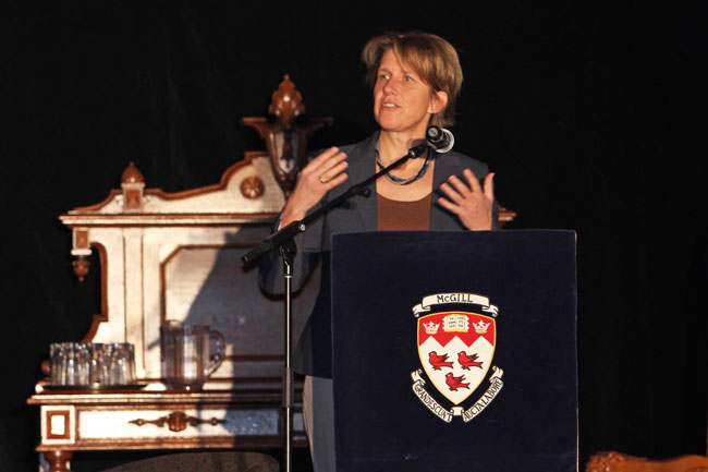 Anja Geitmann, Dean of the Faculty of Agricultural and Environmental Sciences addresses the crowd at Founder's Day. / Photo: Neale McDevitt
