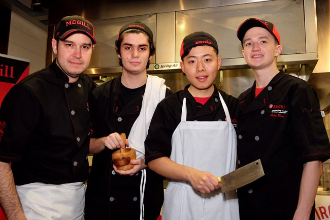 The McGill Iron Chef team (from l to r): Zach Suhl, coach; John Mackay, Zhe Li and Colin Hier. / Photo: Geoff Vendeville