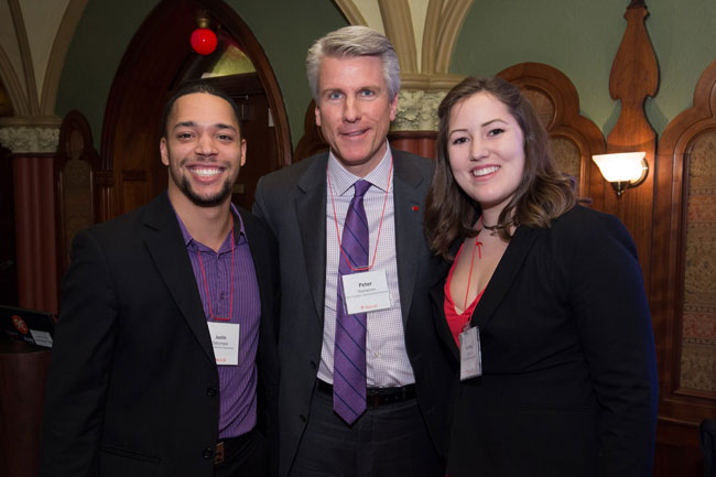 Contest winners Justin Dalrymple (left) and Andrea Cabral (right) with McGill alumnus John D. Thompson.