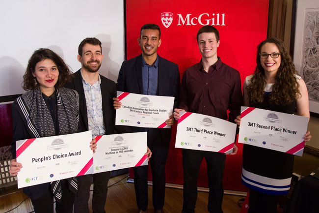 The winners of this year's 3-Minute Thesis / Ma thèse en 180 secondes (from left to right): Laura-Joy Boulos, People's Choice Award; Olivier Sulpis, winner, Ma thèse en 180 secondes; Kashif Khan, winner, 3MT; Nicholas Zelt, 3rd place, 3MT; and Necola Guerrina, 2nd place, 3MT. / Photo: Owen Egan