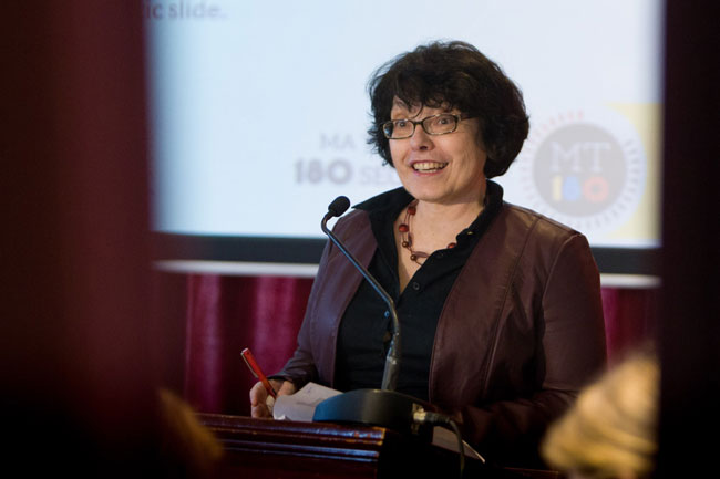 Josephine Nalbantoglu, Dean of Graduate Studies, welcomes the hearty souls who braved the post-blizzard conditions to take in the 3MT competition. / Photo: Owen Egan