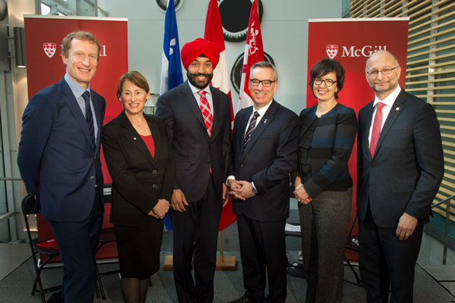 From left to right: Marc Miller, Member of Parliament for Ville-Marie—Le Sud-Ouest—Île-des-Sœurs; Principal Suzanne Fortier; Honourable Navdeep Bains, Minister of Innovation, Science and Economic Development; Yves Beauchamp, VP (Administration and Finance); Martine Alfonso, and David Lametti at today's announcement. / Photo: Owen Egan