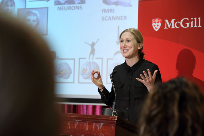 Jocelyne Whitehead, seen hear en route to winning last year's 3-Minute Thesis competition at McGill, now serves as one of the organizers for the 3MT training module.